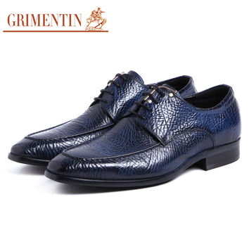 blue shoes men casual black lace up business wedding office Italian fashion mens shoes genuine leather male footwear