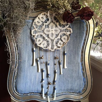 Coyote Bone Wind Chime with Antique Doily and Rass Bells
