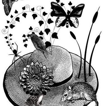 flower straw hat animals bugs printable art print clipart png Digital Download Image graphics frog mouse nature craft living room home decor