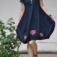 Purplish Blue Ethnic Wind Bud Pattern Embroidered Short Sleeve Dress | StylishLife - Clothing on ArtFire