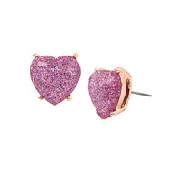 NOT YOUR BABE LAVENDER HEART STUD: Betsey Johnson