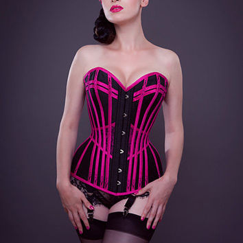 1890 Victorian waistband longline corset- Morgana Femme Couture