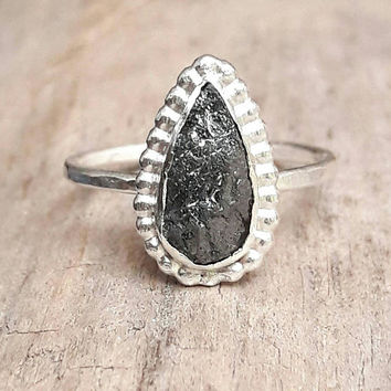 Pear Shaped Rough Black Diamond Engagement Ring - Raw Diamond Ring - Black Diamond Ring - Large Diamond Ring - Silver Engagement Ring