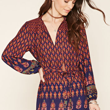 Abstract Ornate Belted Dress