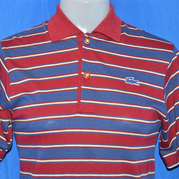 70s Izod Lacoste Maroon Blue Striped Polo Shirt Youth Large