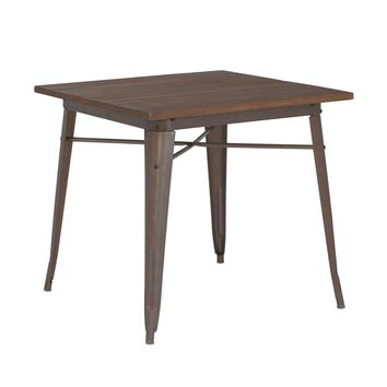 Sundsvall Rustic Matte + Elm Wood Top Steel Dining Table 30