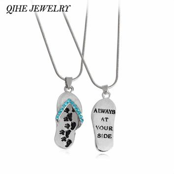 "QIHE JEWELRY ""Always At Your Side"" Paw Print Flip Flop Sandal Pendant Necklace With Blue Crystal Pet Memorial Animal Jewelry"