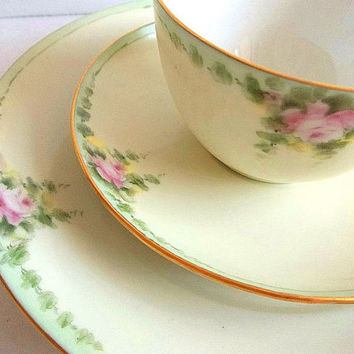 Antique Paul Muller Selb Tea Set Trio pink roses teacup saucer & plate Bavaria Germany 1920s hand painted  Beautiful for a vintage tea party