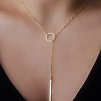 Gold Drop and Circle Y Shape Necklace