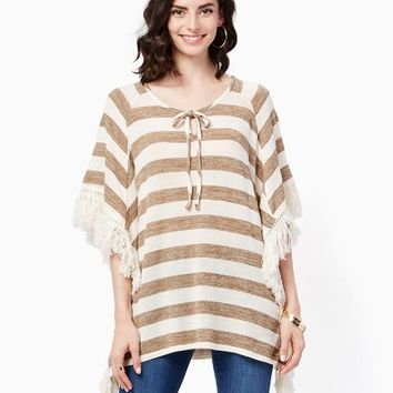 Striped Fringe Poncho | Fashion Apparel - Knits and Tees | charming charlie