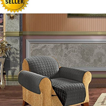 #1 Best Seller Reversible Furniture Protector! Elegance Linen® Luxury Slipcover/Furniture Protector Great for Pets & Children with STRAPS TO PREVENT SLIPPING OFF, Chair Size, Gray/Black