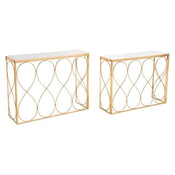 A11526 Twist Set Of 2 Console Tables Gold