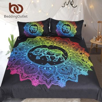 BeddingOutlet Mandala Elephant Duvet Cover With Pillowcase Colorful Printed Bedding Set Queen Bohemian Bed Set Quilt Cover 3pcs
