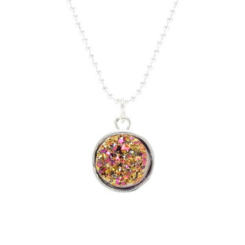 Petite Pink And Gold Faux Druzy Necklace