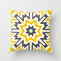 Mustard Points Throw Pillow by Abstracts by Josrick