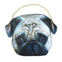 Realistic Pug Puppy Dog Head Shaped Vinyl Animal Photo Print Cross Shoulder Bag | DOTOLY