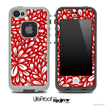 Red Flowered Skin for the iPhone 5 or 4/4s LifeProof Case