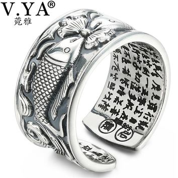 V.YA 12mm Vintage Thai Silver Fish Rings for Men Women Couple Adjustable Size 990 Sterling Silver Jewelry Romantic Gift