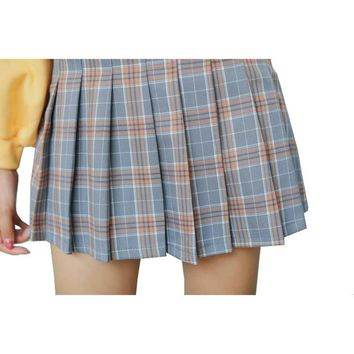 Women Pleat Skirt Preppy Style Harajuku Kawaii Plaid Skirts Mini Cute School Uniforms Saia Faldas Ladies Jupe SK6686