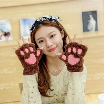 Tnine New Winter Womne's Fluffy Bear/Cat Plush Paw/Claw Glove-Novelty soft toweling Women half covered gloves mittens christmas