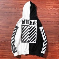 Off White Fashion New Letter Stripe Print Hooded High Quality Contrast Color Women Men Long Sleeve Sweater Coat