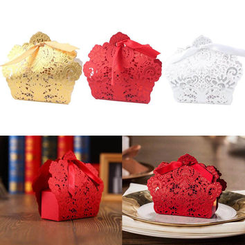 2016 Hot Sale 100 X Wedding Candy Box Gold Red White Laser Cut Wedding Favor Boxes Casamento Wedding Favors Gifts 3Color
