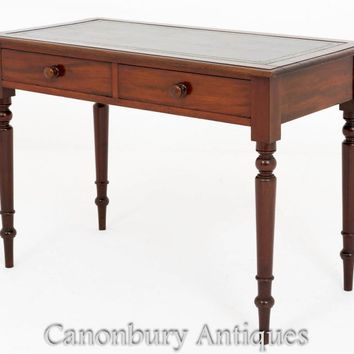 Canonbury - Mahogany Victorian Desk Two Drawer Writing Table 1860