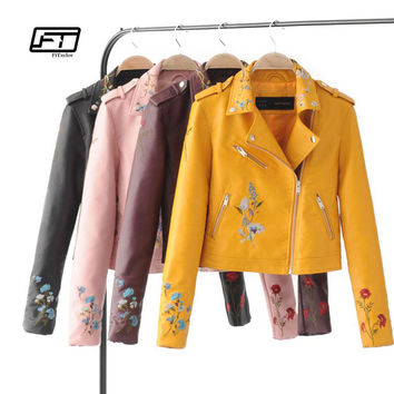 Fitaylor Autumn Biker Jacket Women Embroidered Bomber Faux Leather Jacket Floral Print Pink Black Motorcycle Leather Jacket