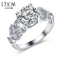 17KM Silver Color Crystal Flower Wedding Rings For Women Jewelry Bague Bijoux Rose Gold Color Femme Engagement Ring Accessories