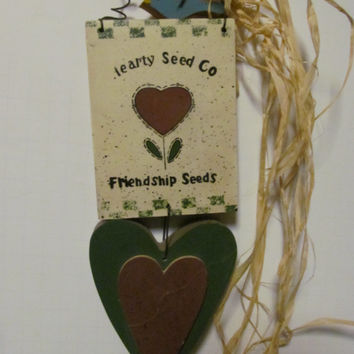 Friendship Seeds Primitive Wall Decor  Rustic Cabin Decor Rustic Wood Heart Shapes Hearty Seed Co Gift for Friend Gift for Gardener