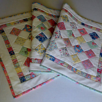 Cottage Flowers Quilted Table Runner Pastel Patchwork