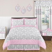 Elizabeth Pink and Gray Damask Bedding 3 Pc Full/Queen Set