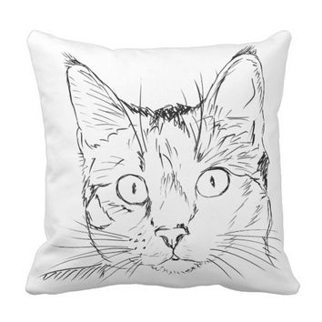 Kitten Portrait Sketch Cat Lovers Paw Prints Throw Pillow