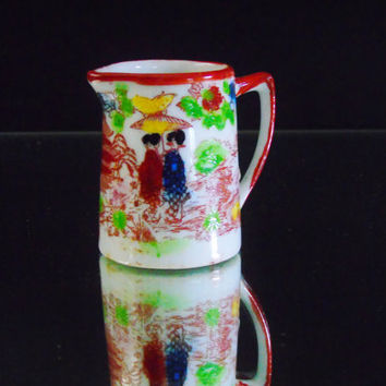 Ceramic Miniature , Vintage Japanese Hand Painted Mini Pitcher, Ladies with Wagasa, Oil-Paper Umbrella