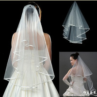 Bridal Veil 2 tier Satin edge Pearl Wedding veil Elbow Veil White / Ivory + comb 2 colors = 1697512132
