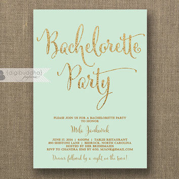 Mint & Gold Bachelorette Party Invitation Gold Glitter Modern Script Green Bridal Wedding Hens Party Lingerie DIY Printable or Printed- Mila