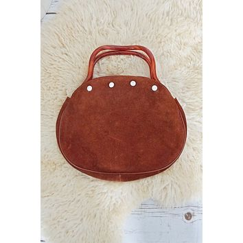 Vintage Cinnamon Suede Lucite Handle Bag