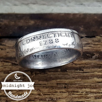 Connecticut 90% Silver State Quarter Coin Ring
