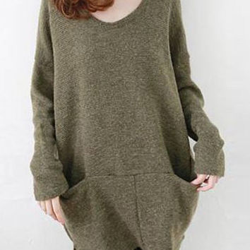 Two Pockets Long Sleeve Slit Sweater