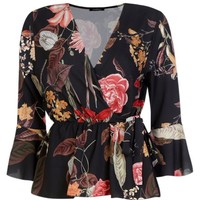 Claire Floral Wrap Tie Side Blouse | Boohoo