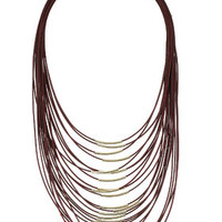 Multi-Row Thread Necklace - Burgundy
