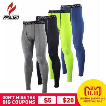 ARSUXEO Men Compression Base Layers Running Elastic Tights Pants Fitness Workout Gym Bodybuilding Basketball Leggings Clothing