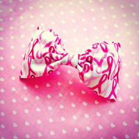 Breast Cancer Awareness pink ribbon handmade fabric bow tie or hair bow