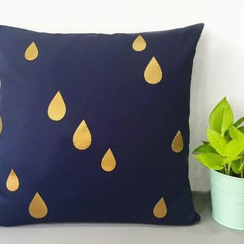 Custom Your Color. Gold Raindrops Navy Decorative Pillow Cover. 17inch Metallic Raindrops Pillow Case. Modern Rain Accents Pillow