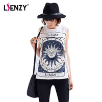 LIENZY 2016 Summer Casual Women T Shirt Sleeveless O Neck Vintage Printed White Tshirt Plus Size For Women