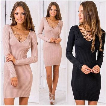 ESBONS Women cross lace up V-neck  Slim Fit Package Hip BodyconTop Sweater Dress