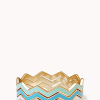 FOREVER 21 Zigzag Stackable Bangles Blue/Mint Med/Lg