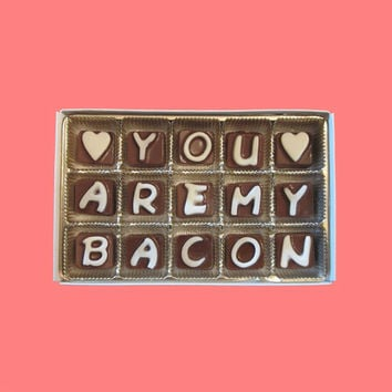 Men Anniversary Gift Boyfriend Girlfriend Him Romantic Funny Fun LOL Valentines Gift You Are My Bacon Cubic Chocolate Letters Message Cute
