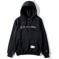 Champion classic alphabet patch cloth men and women embroidered sweater coat Black