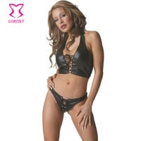 Sexy Lingerie Black Leather Halter Front Lace Up Erotic Clothing Set Burlesque Costume Showgirls Top Gothic Women Underwear